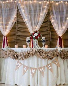 Reception decorations / Red roses / burlap & lights backdrop / curtains / Red roses / Banner / mason jar wine glasses / Elegant Wedding DIY