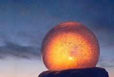 Ice Globe Luminary Kit--lights added to frozen globes Lighted Wine Bottles, Bottle Lights, Solar Lanterns, Solar Lights, Outdoor Crafts, Outdoor Projects, Diy Projects, Ice Crafts, Christmas Projects