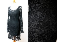 Lace dress, black dress, black lace dress, dress vintage, vintage lace dress, vintage dress, black lace, evening dress, party dress by VintageEuropeDesign on Etsy