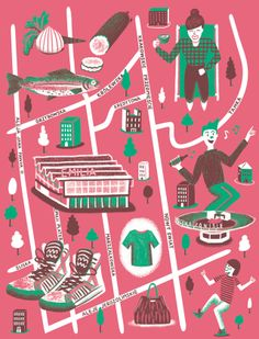 Map of Warsaw for Computer Arts magazine #218. Illustrated by Daniel Gray.