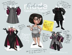 Edna mode, the Incredibles paper doll Disney Paper Dolls, Barbie Paper Dolls, Vintage Paper Dolls, Disney Diy, Disney Stuff, Disney Pixar, Disney Dream, Disney Characters, Funny Princess