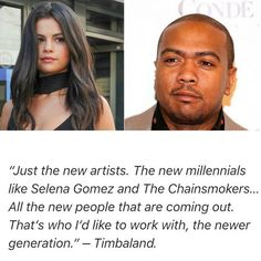 """@timbaland said that @selenagomez is one of the artists he would like to work with during his interview with Idolator! """"Just the new artists. The new millennials like Selena Gomez and The Chainsmokers... All the new people that are coming out. Thats who Id like to work with the newer generation."""" -Timbaland.  #Timbaland dijo que #SelenaGomez es una de las artistas que le gustaría trabajar con el durante una entrevista para Idolator! """"Sólo los nuevos artistas los nuevos milenarios como Selena…"""