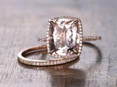 Morganite Wedding Ring Set10x12mm Cushion Cut Pink by kilarjewelry