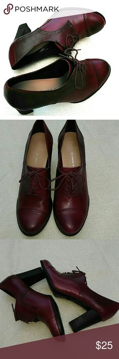 "Aigner burgundy leather loafers Worn once in good condition, leather lace up with 3 1/8"" heels Etienne Aigner Shoes Heels"