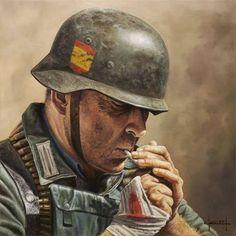 Division Azul - Spanish Nazi volunteers by Jose Ferre Clauzel Para saber más… German Soldiers Ww2, German Army, Military Art, Military History, Ww2 Propaganda, German Uniforms, Panzer, War Machine, World War Two
