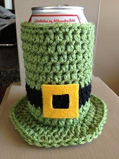 St Patricks Day 'Leprechaun Hat' Can Cozy - free crochet pattern by Lindsey Patchak