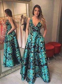 A-line floral long prom dress, 2018 prom dress, prom dress with pockets, prom dress with criss cross Trendy Dresses, Casual Dresses, Fashion Dresses, Formal Dresses, African Dress, Beautiful Gowns, Homecoming Dresses, Dress Prom, Ball Gowns
