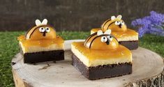 Bumble bee delight by the Greek chef Akis Petretzikis. An easy recipe for a chocolate cake, cream, and a topping of peach jam and peaches! Peach Cheesecake, Cheesecake Recipes, Greek Recipes, Raw Food Recipes, Peach Compote, Peach Jam, Processed Sugar, Party Desserts, Mini Cakes