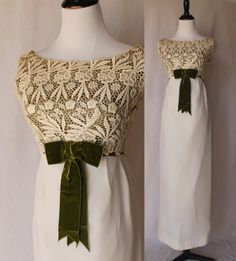 50s Ivory Green Formal Vintage Gown Dress  by:-Vintage Divine