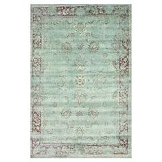 Art silk rug in spruce blue with a classic floral motif. Made in Belgium.  Product: RugConstruction Material: 100% ViscoseColor: Spruce blueFeatures:  Made in BelgiumMachine-made  Note: Please be aware that actual colors may vary from those shown on your screen. Accent rugs may also not show the entire pattern that the corresponding area rugs have.Cleaning and Care: These rugs can be spot treated with a mild detergent and water. Professional cleaning is recommended if necessary.