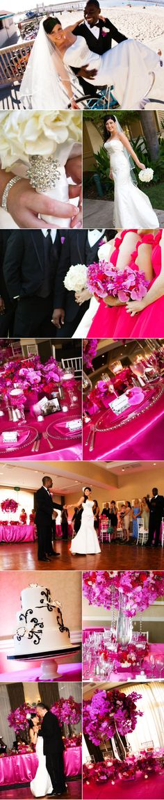 pops of purple and hot pink in lavish arrangements at this wedding