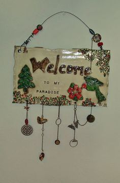 Mixed media ceramic plaque created by one of our very talented artists, Jodie Hansen.