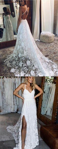 222f4fc5218 A Line White Straps Long Split V Neck Lace Beach Wedding Dress