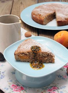 Peach & Almond Cake with Passionfruit Syrup