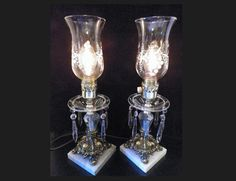 Stunning Vintage Hollywood Regency Table Lamps Crystal by GsEclecticAttic