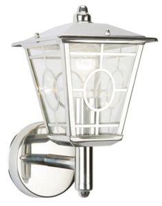 porch lights Triton Chrome Effect Plate & Clear Glass Wall Lantern 60W, 0000004041610