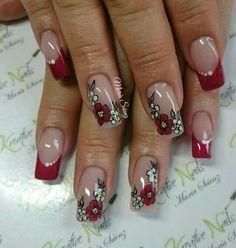 Uñas uñas decoradas #damas #uñas #vestidos #dresses #tatuadas #honor Silver Nail Designs, Manicure Nail Designs, Gel Nail Art Designs, Nail Manicure, Burgundy Acrylic Nails, Red Nails, Matte Nail Art, Glitter Nail Art, Gothic Nails