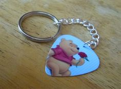 Winnie the Pooh Guitar Pick Key Chain by ItsYourPickToo on Etsy
