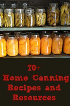 70+ Home Canning Recipes and Resources Includes pressure canning recipes, water bath canning recipes, how to can food, canning recipe collections and more.