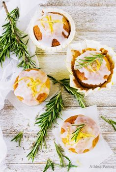 Muffins with olive oil, lemon and rosemary