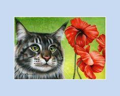 Ragdoll Cat Print Blue Poppy by I Garmashova