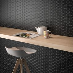 """Add some sleekness to your modern kitchen with our Hexagon 2"""" Matte Mosaic Tile in Black! Extremely versatile, this is just the tile you need to modernize your kitchen! It retails starting at $5.99 SH."""