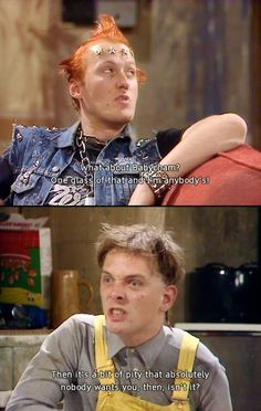 Rik and Ade bickering as Rick and Vyvyan in The Young Ones!