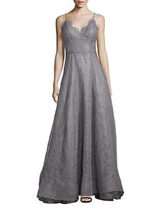 NHA KHANH - Flora Metallic Lace Fit-&-Flare Gown