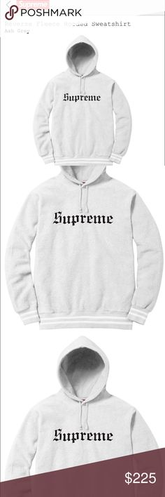 Supreme-Reverse fleece hooded sweater Color: ASH GREY.     Size: L.      PM: 3013001054 Supreme Sweaters