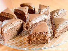 """Dette er en guddommelig sjokoladekake hentet fra mesterkokken Arne Brimis spennende bok """"Den siste fristelse"""" (Versal forlag, 2008). Kaken lages av hjemmelaget sjokolademousse som dels stekes og dels beholdes som mousse. Han skriver selv om kaken: """"Bli ikke skremt av oppskrifta. Dette er en farlig god og kraftig kake som kan serveres hel, eller i små biter"""". Se også den fantastiske kaken som heter """"Chocolatissimo"""" på detsoteliv.no, som er basert på tilsvarende konsept. Forskjellen er at… Baking Recipes, Cake Recipes, Dessert Recipes, Cookie Desserts, No Bake Desserts, Norwegian Food, Scandinavian Food, Happy Foods, Dessert Drinks"""