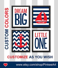 navy blue and red baby wall decor nautical dream big nautical baby boy nursery baby name nursery gift for boys room ocean nursery sailor by PinkeeArt, $29.00