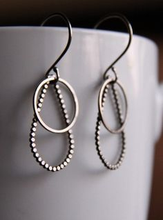 "Trendy sterling silver earrings handmade with two different edgy geometric shapes, light and comfortable - ""Drops and Circles Earrings"" By Blue Hour Designs"