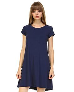 Elain  J Boutique PreWashed T Shirt Dress For Women Small Navy -- You can find more details by visiting the image link.