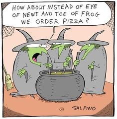 FB Just for a change. ~ witches want pizza Halloween Cartoons, Halloween Cards, Holidays Halloween, Vintage Halloween, Happy Halloween, Halloween Decorations, Halloween Humor, Halloween Treats, Halloween Festival
