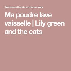 Ma poudre lave vaisselle | Lily green and the cats