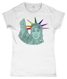 Cher as The Statue of Liberty! LGBT Ladies T-Shirt Gay Art, Cher, Statue Of Liberty, Lgbt, Lesbian, Plastic, T Shirts For Women, Celebrities, Sleeves