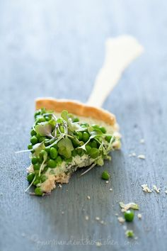 Pea & Herbed Goat Cheese Tart  http://gourmandeinthekitchen.com/2012/pea-herbed-goat-cheese-tart-recipe/