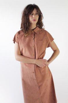 Vintage 70s Dusty Peach Micro Suede Shift Dress / VAUXSHOP.COM