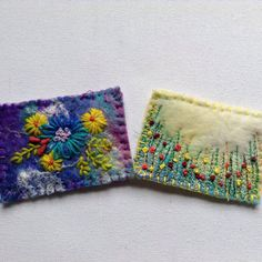 As the last two aceos I listed have already sold I have made some more. These both have handmade felt backgrounds and are embroidered. Lilac Color, Purple, Felt Pictures, Blanket Stitch, Handmade Felt, Wet Felting, Embroidered Flowers, Hand Sewing, Original Art