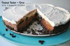 Heavenly mixture of peanut butter, oreos, chocolate ice cream & caramel to create one divine ice cream cake!