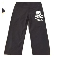 Soul cycle capris! Size M Size medium, black Nike capris with Soul Cycle logo! Have never been worn!! Nike Pants Capris