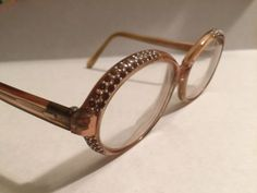1950s-Caramel-VTG-Eyeglasses-Frame-Rhinestone-Bakelite-FRANCE-Rockabilly-Pin-Up