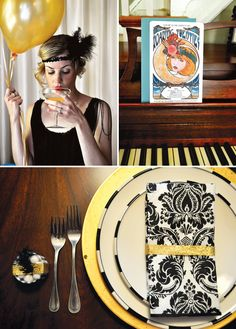 Art deco style roaring party (adult birthday): black fringe bunting, go 1920s Party, Great Gatsby Party, Casino Night Party, Casino Theme Parties, I Party, Party Time, Party Ideas, Party Drinks, Gold Party