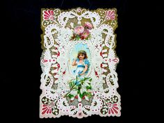 Victorian Edwardian Valentine Card Pop Up Die Cut 3D Embossed Paper Lace Ephemera Roses Wedding Anniversary Birthday Collector Gift by Passion4Europe on Etsy