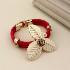 European New Fashion Weave Bracelet Exquisite Leaf Shape Design Bracelet Jewelry 4 Color