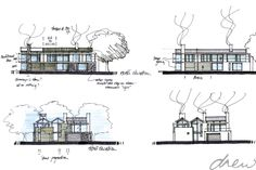 gallery of drew' residential projects Contemporary Architecture, Architecture Art, Modern Contemporary, Modern Farmhouse, Architects, Villa, Floor Plans, Sketches, Gallery