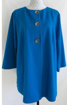 THE TRAVEL COLLECTION Vikki Vi 1X Blue Stretch Rayon Blend Jacket Blazer