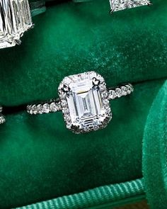 Gorgeous engagement ring | Kirk Kara | Carmella collection | emerald cut engagement ring | platinum ring | halo ring