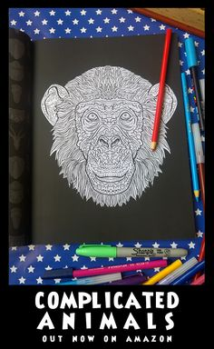 Chimp - Image from Complicated Animals - A Mixed Menagerie Colouring Book - Illustrated by Antony Briggs - UK link: http://amzn.to/2aeY18T USA link: http://amzn.to/2aeXS5B