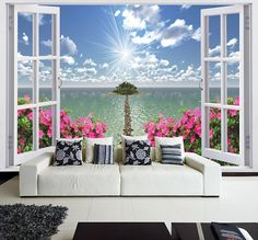 Faux Window Wall MURAL, Photo Wall Decal, Self-Adhesive Vinyl Wallpaper WINDOW To PARADISE